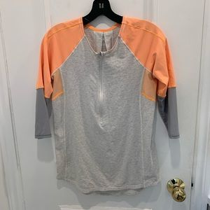 Lululemon grey/orange 3/4 length sleeve top Size M